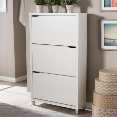 DIXONS 3 DOOR SHOE CABINET WHITE