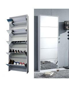 DIXONS 5 DOOR MIRRORED SHOE CABINET GREY