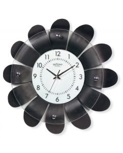 WALL CLOCK WOOD.BLK.FLOW 1634/01