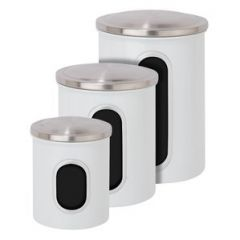 3pcs S/Steel Canister Set - White