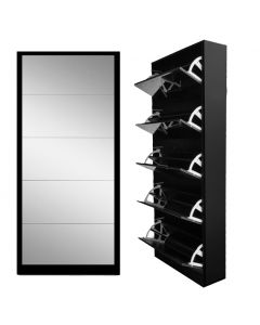 DIXONS 5 DOOR MIRRORED SHOE CABINET BLACK