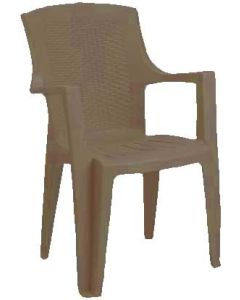 RATTAN FINISH STACKABLE ARMCHAIR EDEN TAUPE