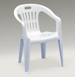WHITE LOW BACK STACKABLE CHAIR