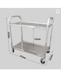 S/S SERVING TROLLEY 2 TIER